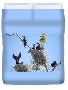 Cormorants Nesting Duvet Cover