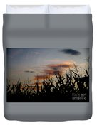 Corn Field With Orange Clouds Duvet Cover
