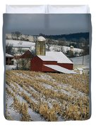 Corn Stubble And Barn In A Wintery Duvet Cover
