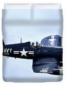 Corsair In Flight Duvet Cover by Greg Fortier