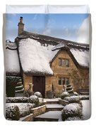 Cotswolds Cottage Covered In Snow Duvet Cover