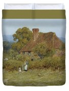 Cottage At Broadham Green Surrey In Sunset Light Duvet Cover
