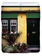 Cottage At Bushmills, Co Antrim, Ireland Duvet Cover