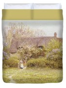 Cottage Freshwater Isle Of Wight Duvet Cover by Helen Allingham
