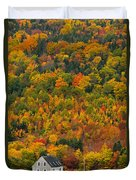 Cottage In Front Of Autumn Colours Duvet Cover