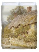 Cottage Near Wells Somerset Duvet Cover by Helen Allingham