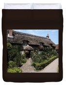 Cottage With Flowers Duvet Cover