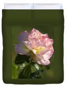 Cotton Candy Pink Peace Rose Duvet Cover