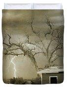 Country Horses Lightning Storm Ne Boulder Co 66v Bw Art Duvet Cover