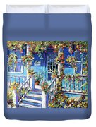 Country Porch And Flowers By Prankearts Duvet Cover