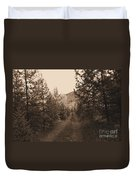 Country Road In Sepia  Duvet Cover