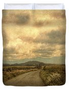 Country Road With Wildflowers Duvet Cover