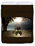Couple On A Bench Duvet Cover
