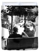 Couple Resting On A Downtown Bench On A Windy Day Duvet Cover