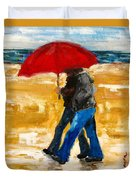 Couple Under A Red Umbrella Duvet Cover