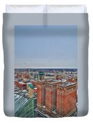 Courthouse And Statler Towers Winter Duvet Cover