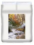 Courthouse River In The Fall Duvet Cover