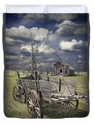 Covered Wagon And Farm In 1880 Town Duvet Cover