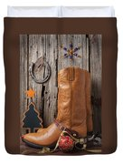Cowboy Boots And Christmas Ornaments Duvet Cover