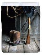 Cowboy Hat Boots Lasso And Rifle Duvet Cover