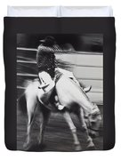 Cowboy Riding Bucking Horse  Duvet Cover by Garry Gay