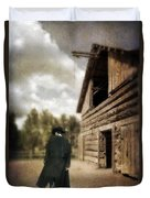 Cowboy Walking By Barn Duvet Cover