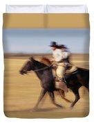 Cowboys Racing Horses Duvet Cover
