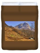 Cowhouse And Snow-capped Mountain Duvet Cover