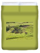 Cows Grazing On Grass In Farm Field Summer Maine Duvet Cover