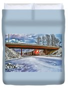 Cp Rail Coal Train Under Bridge Hdr Duvet Cover