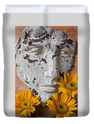 Cracked Face And Sunflowers Duvet Cover
