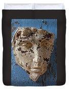 Cracked Face On Blue Wall Duvet Cover