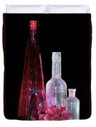 Cranberry And White Bottles Duvet Cover