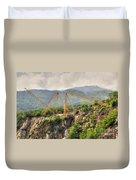 Crane On The Mountain Duvet Cover