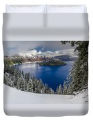 Crater Lake And Fresh Snow Panorama Duvet Cover