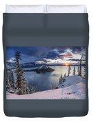 Crater Lake Snow Sunrise Duvet Cover