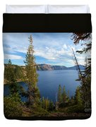 Crater Lake Through The Trees Duvet Cover