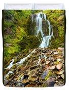 Crater Lake Waterfall Duvet Cover