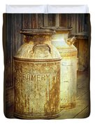 Creamery Cans In 1880 Town No 3098 Duvet Cover