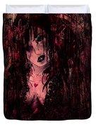 Crimson Torn Lace Duvet Cover