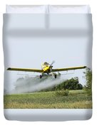 Crop Dusting Plane In Action Duvet Cover