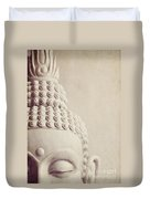 Cropped Stone Buddha Head Statue Duvet Cover by Lyn Randle