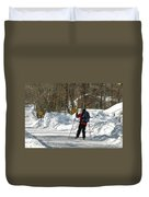Cross Country Skier On Cape Cod Duvet Cover