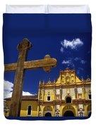 Cross Outside San Cristobal De Las Duvet Cover