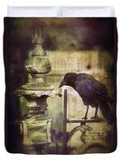 Crow On Iron Gate Duvet Cover