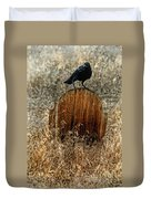 Crow On Old Wooden Grave Duvet Cover