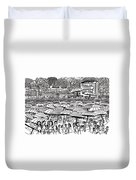 Crowded Beach Black And White Duvet Cover
