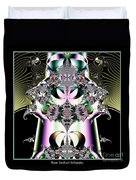 Crown And Jeweled Lotus Flowers Fractal 124 Duvet Cover