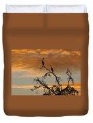 Crowned Cranes At Sunrise Duvet Cover