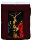 Crucification At Night Duvet Cover